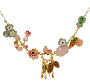Les Nereides Enamel Flower 14k Gold Plated Necklace RRP £260 - New (other)