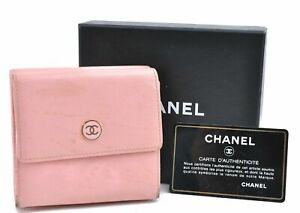 Authentic CHANEL Calf Skin CoCo Button Wallet Pink Box D1679