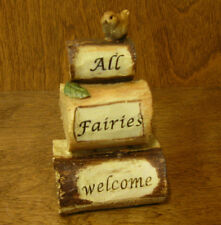 Top Collection Enchanted Story Fairy Garden #4332 ALL FAIRIES WELCOME w/ Bird