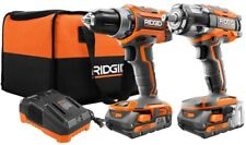 9608SBN RIDGID Lithium-Ion 18-V Cordless Drill/Driver/Impact Wrench Combo Kit