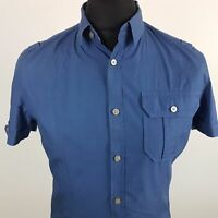 Calvin Klein Mens Shirt XS Short Sleeve Blue Regular Fit No Pattern Cotton