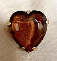 Vintage Heart Shape Smokey Quartz Glass Gold Tone Brooch