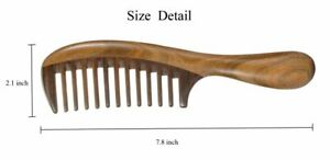 2pcs Sandalwood Wide Tooth Hair Combs Moon Shape Wooden