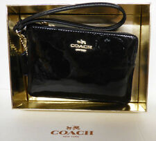 Coach Black PATENT Leather Corner Zip WRISTLET w Coach Gift Box F55739 NWT $85