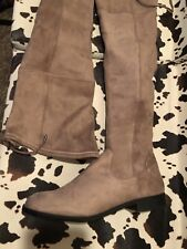 BIB MICROSUEDE SIZE 9 TAUPE RIDING BOOTS