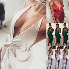 Damen Sommer V-Ausschnitt Ärmellos Bandage Bodycon-Stretch Partykleid Mini Kleid
