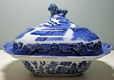Antique W. Adams & Sons BLUE WILLOW SQUARE COVERED VEGETABLE BOWL ~ LION FINIAL
