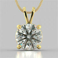 2 ct Round Cut Diamond 14k Yellow Gold FN Solitaire Pendant Necklace for Women's