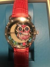 New in Box Signature Bertha Ashley Watch Pink Leather Love Owls Moon Starry Sky