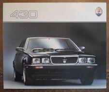 MASERATI BITURBO 430 BERLINA ORIG 1987 UK Mkt opuscolo di vendita in inglese