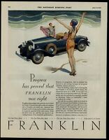 1929 Franklin automobile color Saturday Evening Post Advertisement