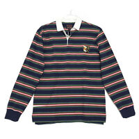 Cremieux NWT Polo Shirt Mens Size M Medium Blue Striped Long Sleeve NWT Cotton