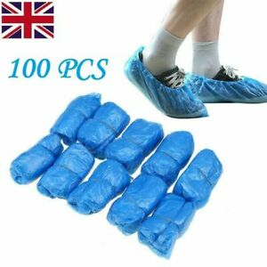 800 X Disposable Shoe Cover Blue Anti Slip Plastic Cleaning Overshoes Boot UK