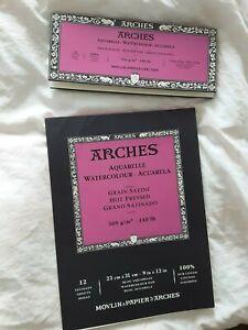 Aquarellblock 2 Stück Arches Hot pressed 23x31 und 10x35 cm