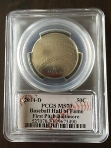 2014 Rare FIRST PITCH BALTIMORE w/ McFARLAND PCGS MS70 Baseball HOF Half 50c