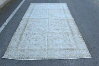 Beige Anatolian Oriental Carpet Vintage Oushak Hand Knotted Wool Area Rug 5x9 ft