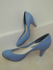 """Ladies Shoes Size 8 1/2 M French Blue Leather 3 """" High Heels $65 Value - EUC"""