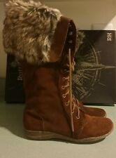 Ruff Hewn Women's Fur Boots tall Size 8 suede Leather New in box with tag