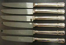 VINTAGE SET OF 6 SILVER PLATED DUBARRY VARIANT PATTERNED DESSERT KNIVES