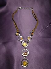 Lia Sophia Vintage Suede Band Silver Tone Necklace Amber Color Brown Signed