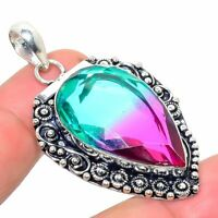 "Bi-Color Tourmaline Handmade Ethnic Style Jewelry Pendant 1.97"" R-VJ-6275"