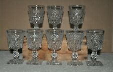"""8 Cape Cod Imperial Glass Clear Wine Glasses Pressed 4.5"""" Fancy Stem"""