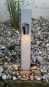 LED Gartenleuchte, Wegeleuchte, Außenlampe aus Naturstein, Wegstrahler, Stele