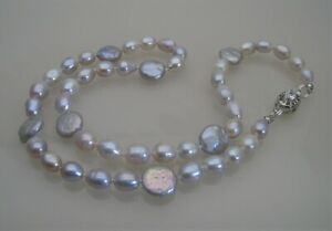 """Freshwater Coin & Rice Pearl Handknotted Necklace 19""""  - Ice Blue"""