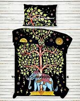 Elephant Tree of Life Mandala Bedding Bed Sheet Set Indian Cotton Boho Bedspread
