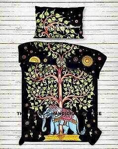 Indian Elephant Tree of Life Mandala Bedding Bed Sheet Set Cotton Boho Bedspread