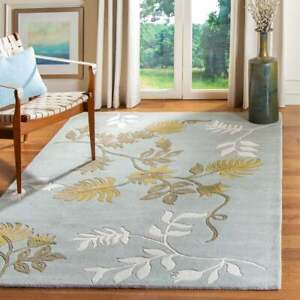 Light Blue Traditional Floral Oriental Area Rug Hand-tufted Classic Carpet 5x8