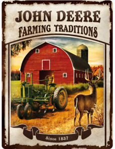Nostalgic Type Tin John Deere Farming Traditions Tractor 15 11/16x11 13/16in