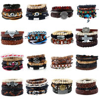 Men Women Retro Handmade Genuine Leather Bracelet Braided Bangle Wristband Set