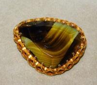 Vintage Scottish Brown Glass Agate Gold tone Brooch Pin 9k 13