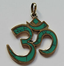 Ohm Aum Om Brass Pendant with Faux Turquoise 33mm x 32mm (OMP3)