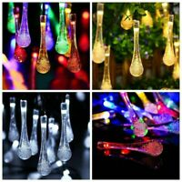 Solar String Light 20 30 50 LED Waterproof Water Drop Fairy Light Outdoor Lamp