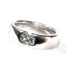 Bijou alliage argenté bague cristal blanc Pierre Lang  taille 52 ring