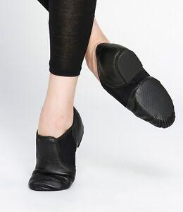Jazz Dance Shoes Black Leather Split Sole Stretch Elastaboot Dttrol Brand