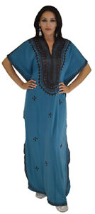 Moroccan Caftan Kaftan Women African Beach Summer Long Dress Blue