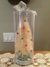 12� White Cream Bottle Brush Christmas Tree With Colored Balls On Package Base