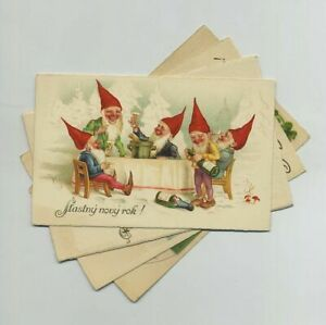 (4) Early New Year Fantasy Czech Foreign Postcards Elf Elves Children etc yz5755