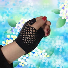 Lady Elastic Goth Dance Costume Party Lace Fingerless Fishnet Mesh Gloves new