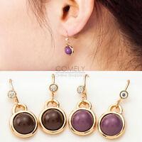 1pair Fashion Women Rhinestone Pearl Gold Ear Stud Drop Dangle Hook Earrings NEW