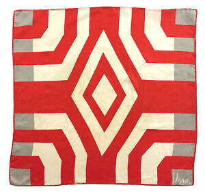 "Vtg VERA NEUMANN Silk Scarf Persian Geometric Motif: Red Grey Cream 21.5 x 22.5"""