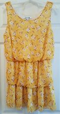 Forever 21 M Blouson Tunic Blouse Top Tiered Sheer Lined Daisy Yellow Career A1