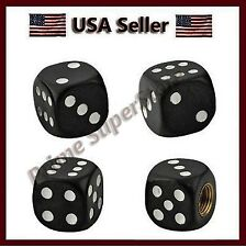 4 New Black Dice Valve Stem Caps Motorcycle Car Truck SUV Bike Tire Air Cover