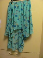 Floral Romance Chiffon HiLo Pool Blue Skirt Sz L MSRP: $40 Now $14.99