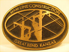 BRASS Belt Buckle M&M LINE CONSTRUCTION Great Bend Kansas by DYNABUCKLE [Y95p]
