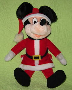 "Big 16"" SANTA CLAUS Mickey Mouse Christmas Plush Stuffed TOY Soft Decor Holiday"
