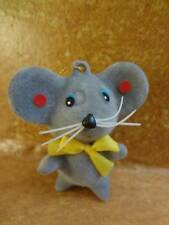 """Vintage Flocked Gray Mouse Christmas Tree Ornament 1980's 2.5"""""""